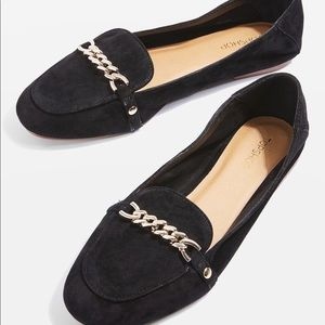 Topshop Loco chain trim suede Loafers 7.5